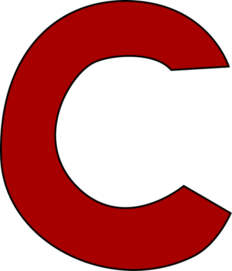Red Letter C Clip Art Image - large red -Red Letter C Clip Art Image - large red capital letter C.-1