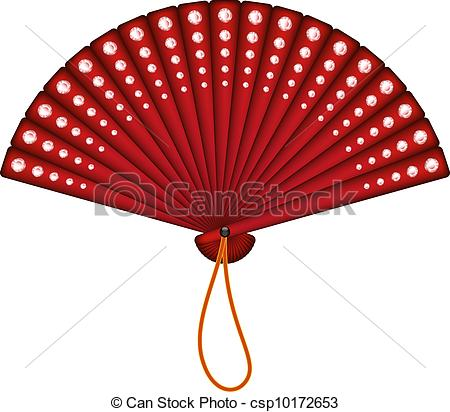 Red oriental fan with red .