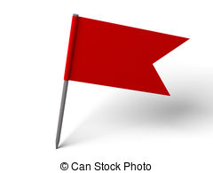 Red Pin Flag over white floor