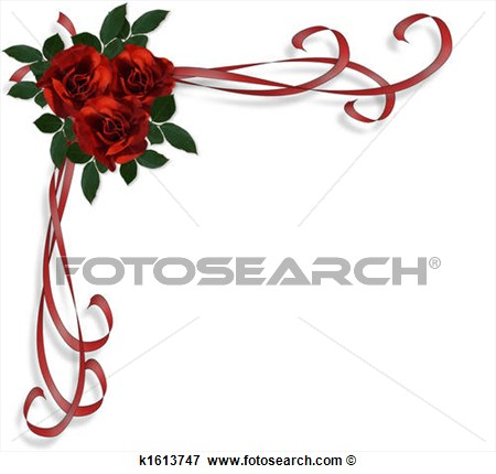 Red Roses Border Invitation Fotosearch Search Eps Clipart