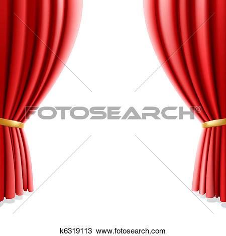Red theater curtain on white-Red theater curtain on white-15