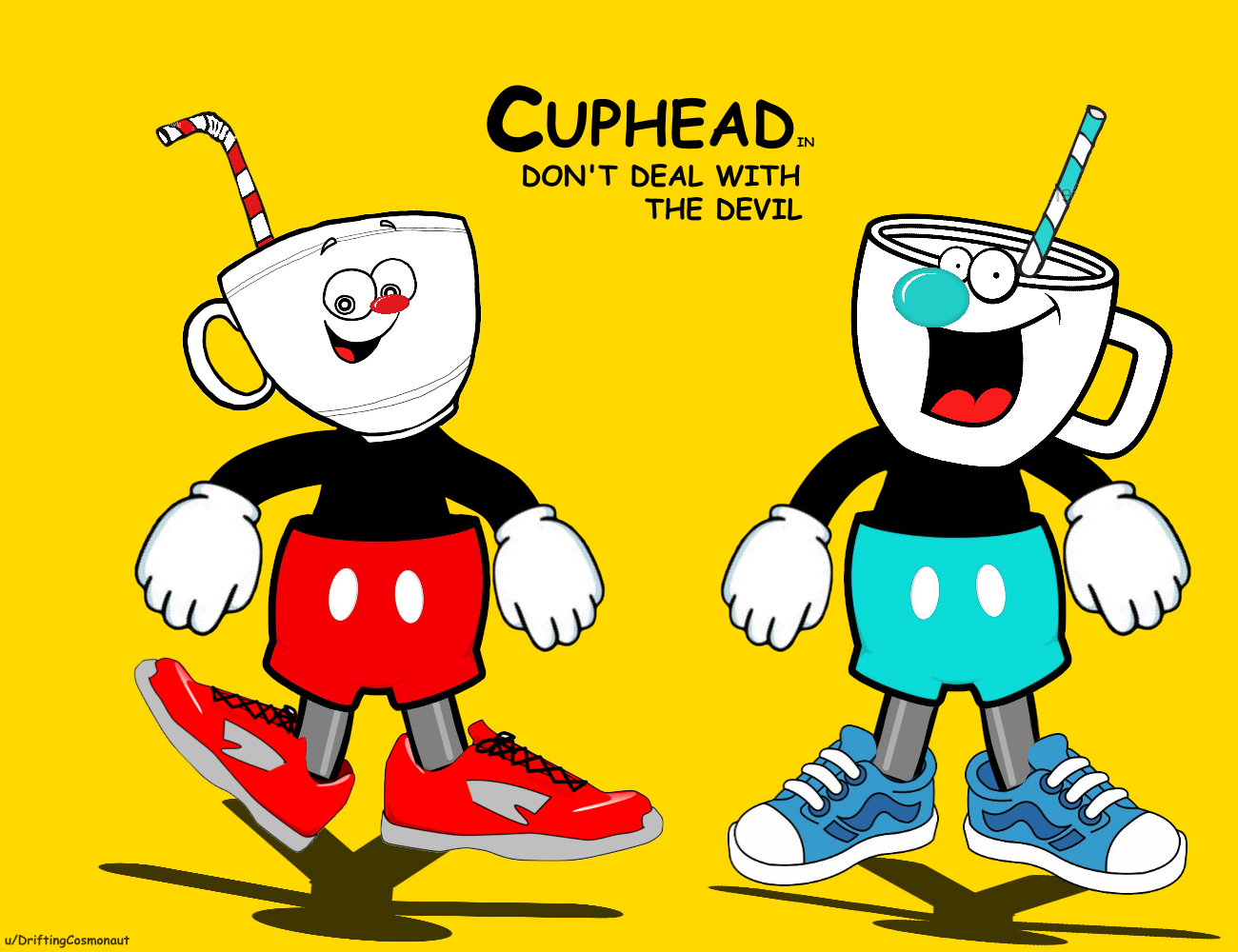 I recreated Cuphead and Mugman using nothing but free clipart assets found  on Google search ClipartLook.com