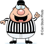 Referee Making Call - A happy cartoon referee making the.