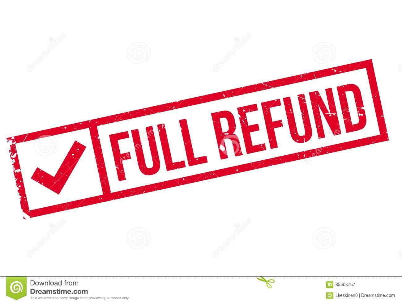 Full refund stamp. Grunge, back.