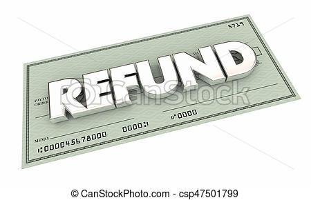Refund Check Rebate Money Back Payment 3d Illustration