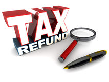 Tax refund. Word in 3d over white background, lying next to a pen and