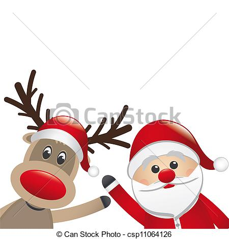 ... reindeer and santa claus wave white background