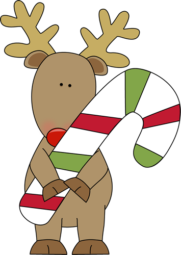Reindeer Holding a Candy Cane Clip Art - Reindeer Holding a Candy