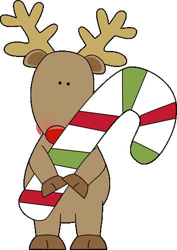 Reindeer Holding a Candy Cane Clip Art - Reindeer Holding a Candy