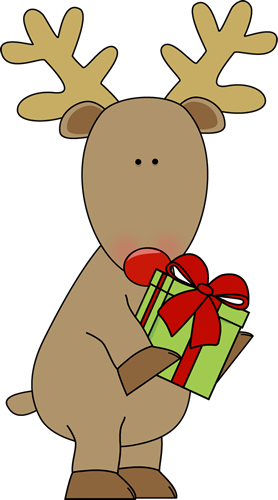 Reindeer Holding A Christmas Gift Clip Art Red Nose Reindeer Holding