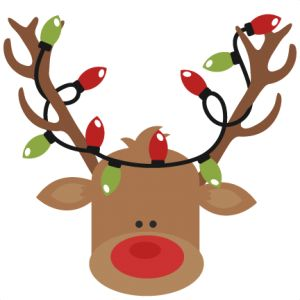 Reindeer With Christmas Lights SVG cutting files for scrapbooking cute cut files christmas svg cut files