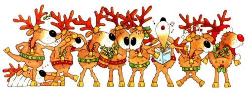 Reindeers celebrates Christmas singing and dancing