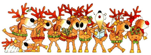 Reindeers celebrates Christmas singing and dancing