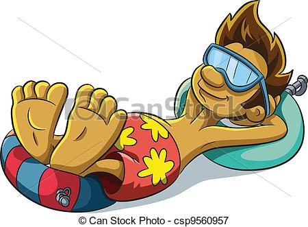... Relaxing Summer Boy - cartoon illustration of relaxing.