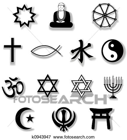 Drop shadows add depth to this collection of symbols of Contemporary World  Religions from Bahai to Shinto, useful as an icon set.