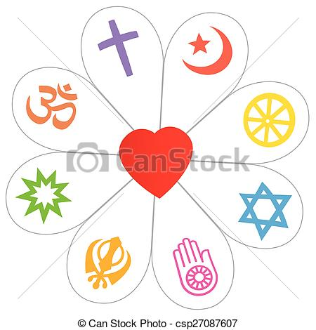 Religions Peace Flower Heart Symbol - csp27087607
