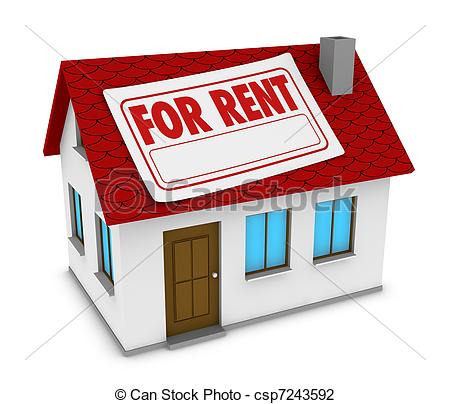 House for rent. One house with a label with the words for. ClipartLook.com clip art -  Search Illustration, Drawings, and EPS Vector Graphics Images - csp7243592