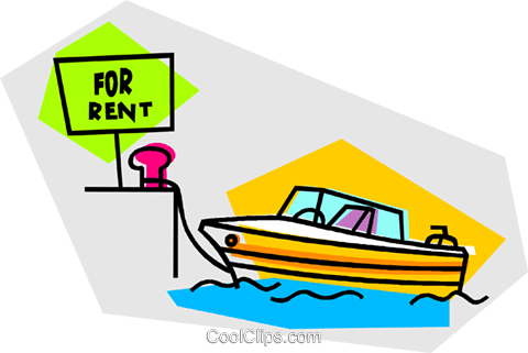 speed boat for rent Royalty Free Vector Clip Art illustration