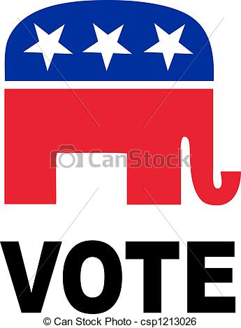 ... Republican Elephant isolated over a white background