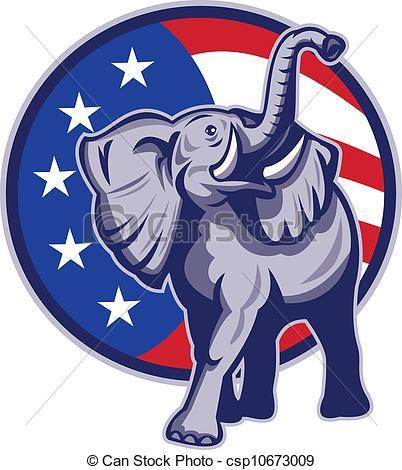 ... Republican Elephant Mascot USA Flag -... Republican Elephant Mascot USA Flag - Illustration of a.-15