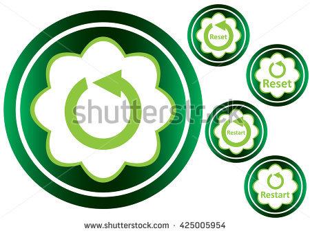 Green icons restart reset clipart