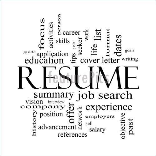 Resume Word Cloud Concept In Black And White With Great Terms Such As