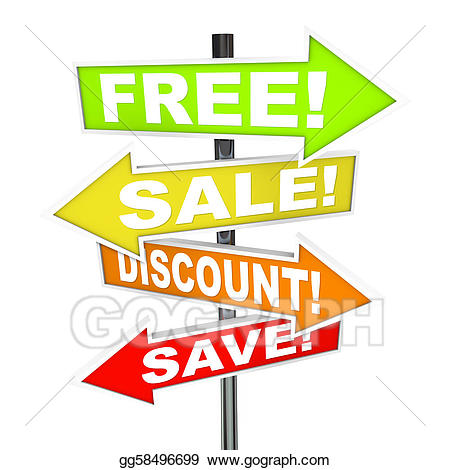 Arrow SIgns - Free Sale Discount Save Message from Retail Store