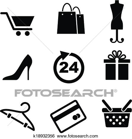 Clip Art - Retail and shopping icons. Fotosearch - Search Clipart,  Illustration Posters,