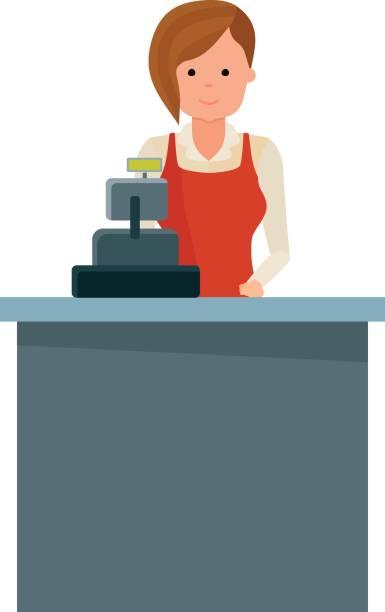 Girl grocery store seller behind the cash register vector art illustration