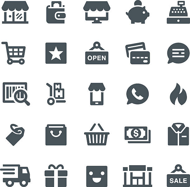 Retail Icons vector art illustration