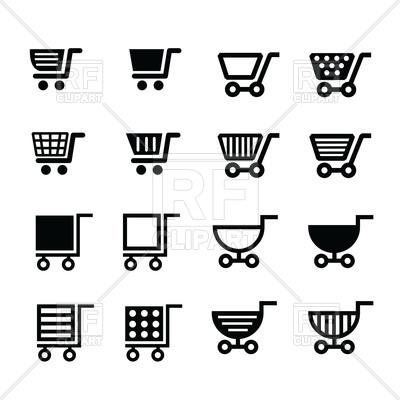 Shopping cart icons set - retail basket, 154520, download royalty-free  vector vector ClipartLook.com