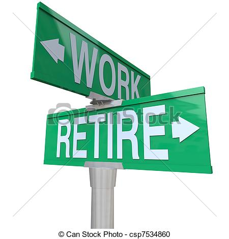 Retirement Jump Clip Artby lenm12/3,961; Decision to Retire or Keep Working - Retirement Street Sign.