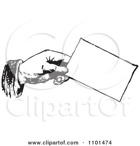 Retro Black And White Hand Holding A Bus-Retro Black And White Hand Holding A Business Card by BestVector-14