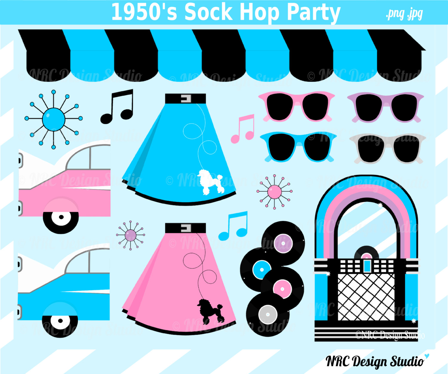 Retro Clip Art 1950 S Sock Hop Party Clip Art By Nrcdesignstudio