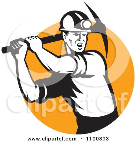 Retro Coal Miner Swinging A Pick Ax Over-Retro Coal Miner Swinging A Pick Ax Over An Orange Circle by patrimonio-19