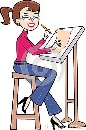 Retro Drawing Cartoon Woman .