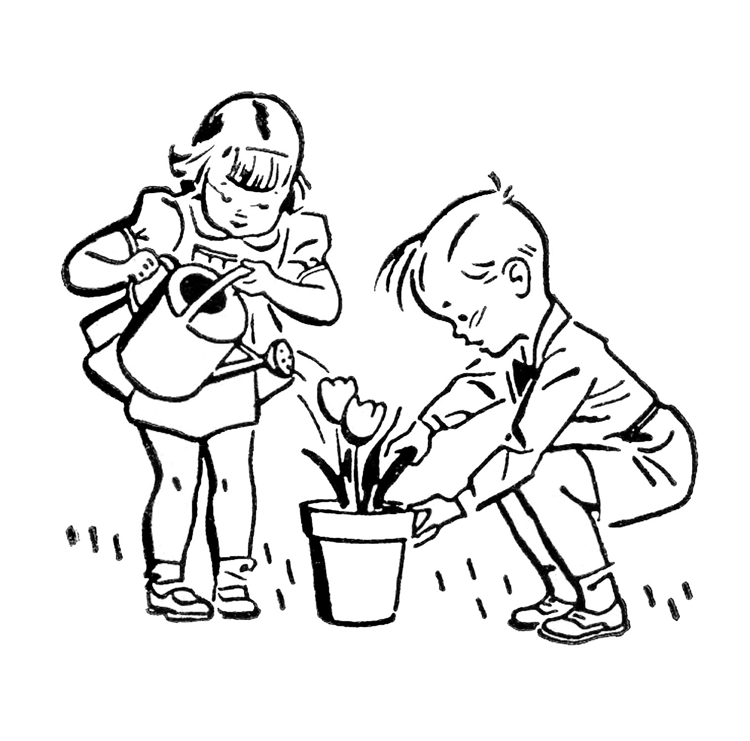 Retro Images Cute Kids Gardening Fishing Playing The