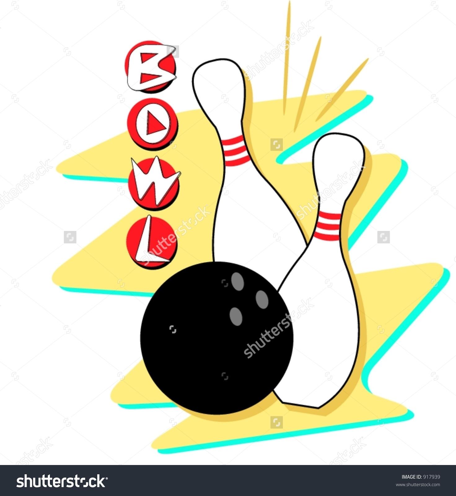 Retro Styled Bowling Clip Art. Fully Sca-Retro styled bowling clip art. Fully scalable and editable vector art.-19