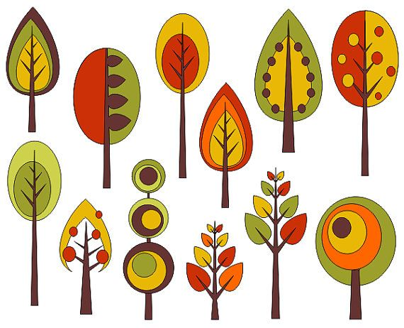 Retro Trees Clip Art Autumn Trees Digita-Retro Trees Clip Art Autumn Trees Digital Clip Art by YarkoDesign, $4.49-16