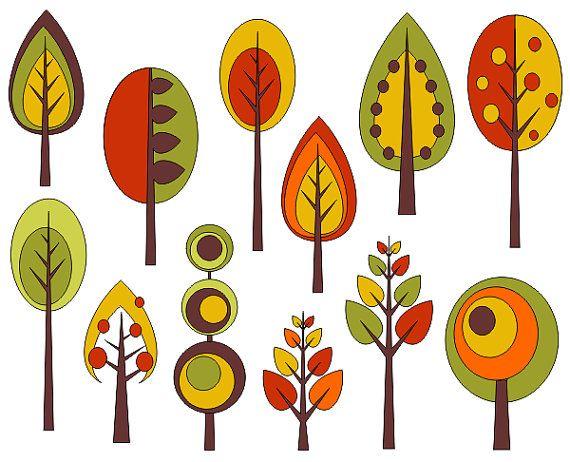 Retro Trees Clip Art Autumn T - Autumn Clip Art