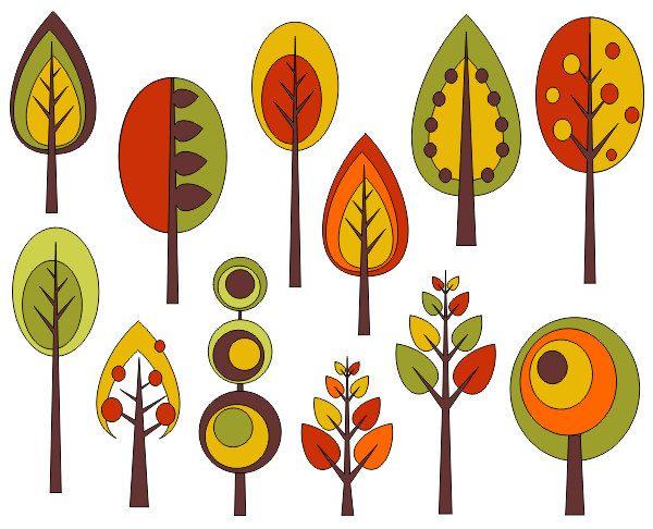 Retro Trees Clip Art Autumn Trees Digita-Retro Trees Clip Art Autumn Trees Digital Clip Art by YarkoDesign-16