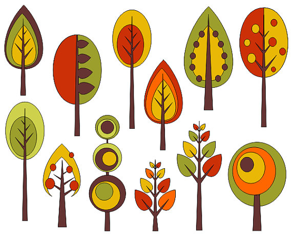 Retro Trees Clip Art Autumn Trees Digita-Retro Trees Clip Art Autumn Trees Digital Clip Art Fall Clip Art-19