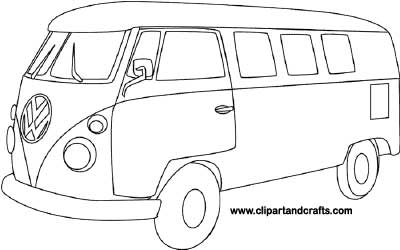 Retro Vw Bus Printable Coloring Page Made By Lee Hanson Of Clipart And