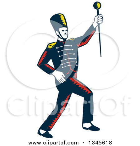 Retro Woodcut Marching Band Drum Major H-Retro Woodcut Marching Band Drum Major Holding Up A Baton by patrimonio-15