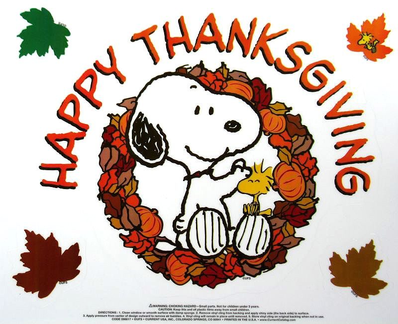 Reusable Window Clings 9 5 X  - Snoopy Thanksgiving Clip Art
