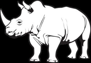 rhino clipart black and white