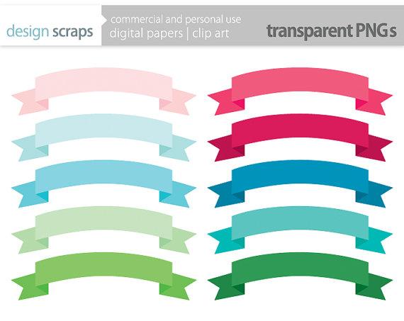 Ribbon Banner Clip Art Frames Labels Digital Clipart Personal And