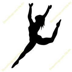 Ribbon Dancer Silhouette Clip Art | Dance Leap Silhouette Clipart