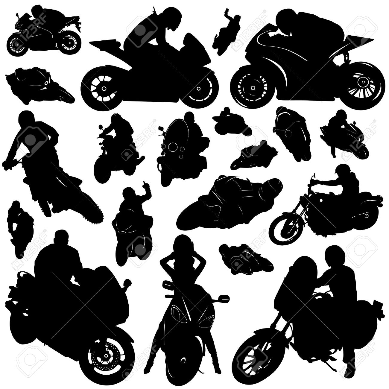Collection Of Motorcycle And Rider Vecto-collection of motorcycle and rider vector Stock Vector - 9592750-8