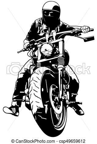 Harley Davidson and Rider - c - Rider Clipart